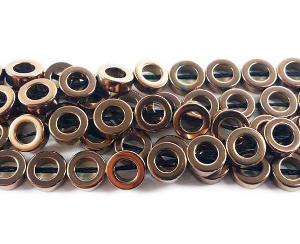 8mm Coffee brown hematite donut circle beads