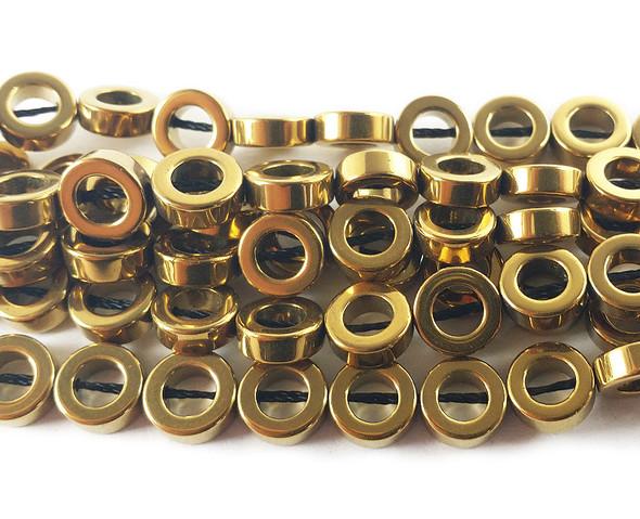8mm Gold hematite donut circle beads