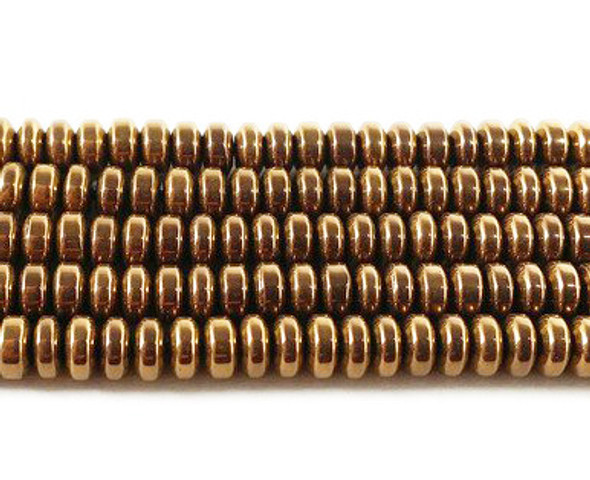 2x4mm Metallic bronze hematite rondelle beads