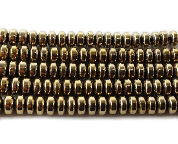 2x4mm Light gold hematite rondelle beads