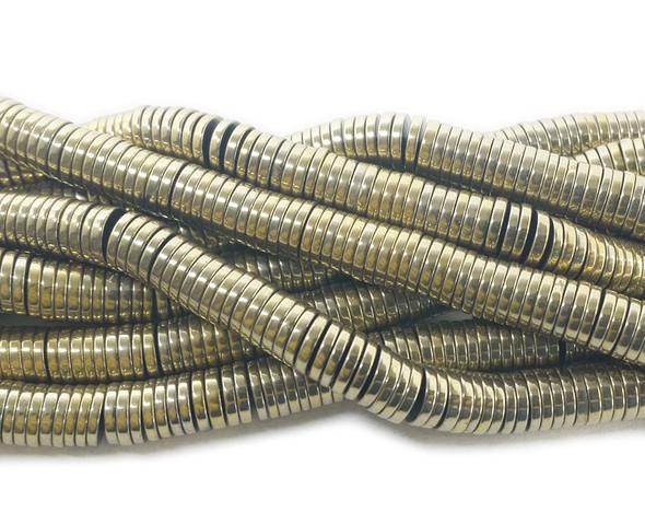 1x6mm Metallic bronze hematite heishi rondelle beads