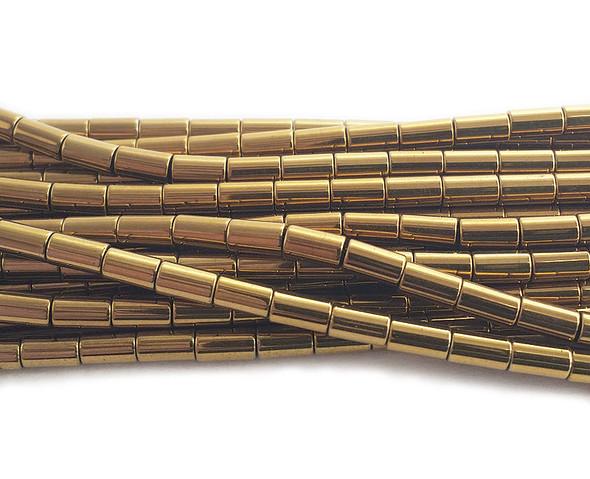 3x5mm Gold hematite tube beads
