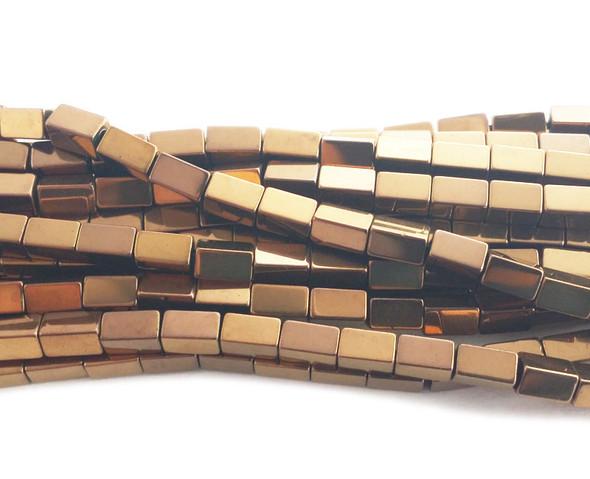 3x5mm Metallic bronze hematite rectangle beads