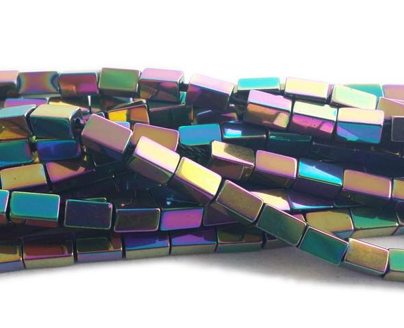 3x5mm Rainbow spectrum hematite rectangle beads