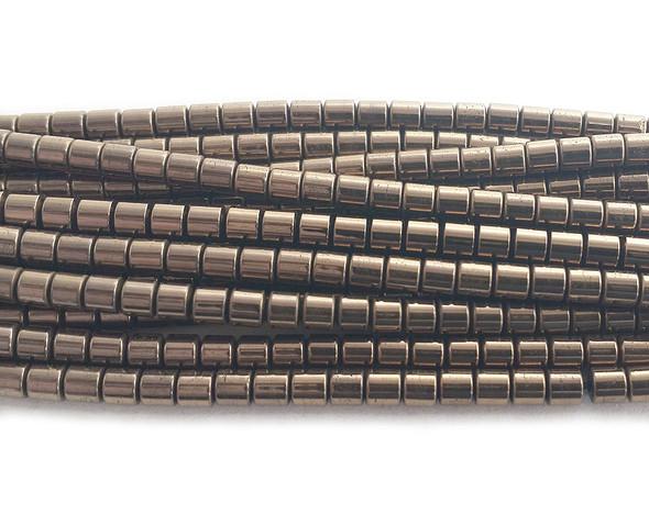 3x3mm Brown Hematite Small Tube Beads