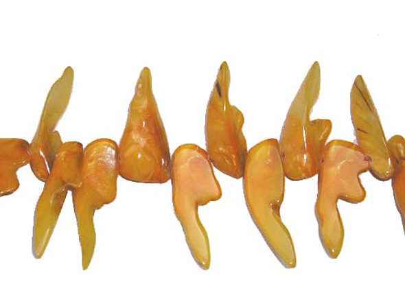 11x32mm-14x45mm Mother of pearl shell yellow tooth-shaped beads