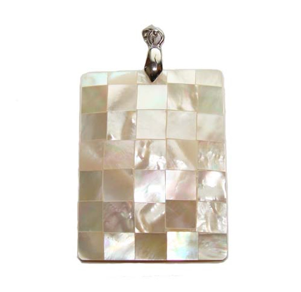 30x40mm Mosaic mother of pearl rectangle pendant