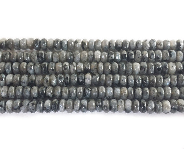 2x4mm Dark Gray Labradorite Faceted Rondelle Beads