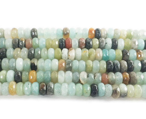 2x4mm Amazonite faceted rondelle beads
