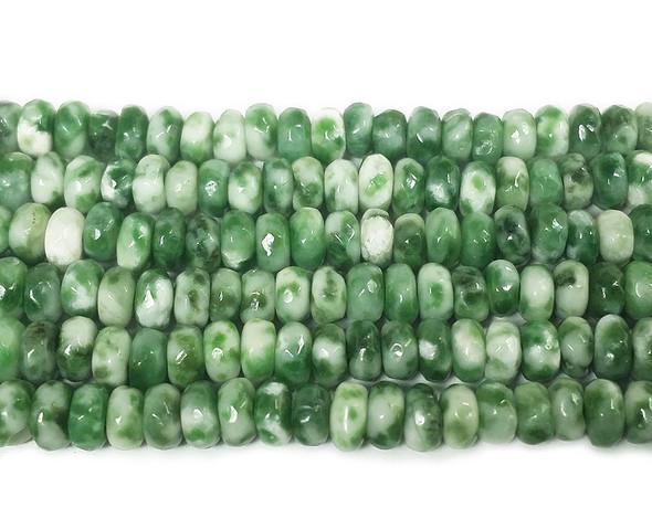 2x4mm Green Spot Jasper Faceted Rondelle Beads