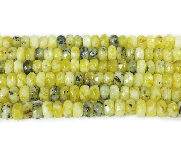 2x4mm Lemon jade faceted rondelle beads
