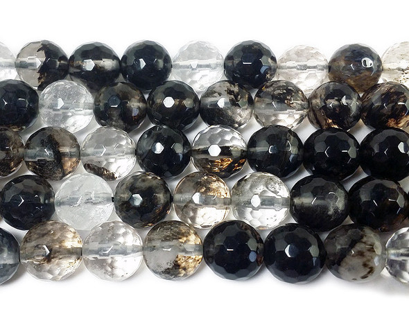 12mm Smoky and clear glass faceted round beads
