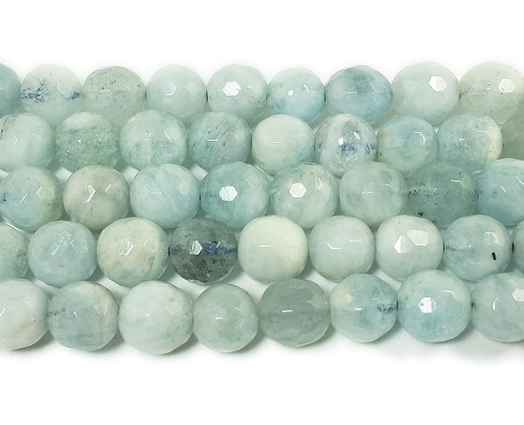 6mm Aquamarine faceted round beads