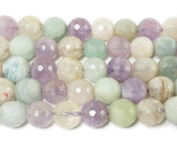 10mm  aquamarine moonstone kunzite Multi stone faceted round beads