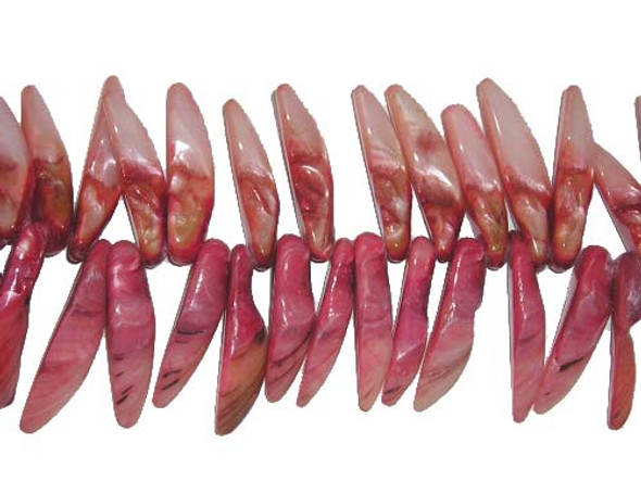 11x32mm-14x45mm Mother of pearl shell Red tooth-shaped beads