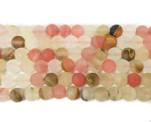 6mm Fire Cherry Quartz Matte Round Beads