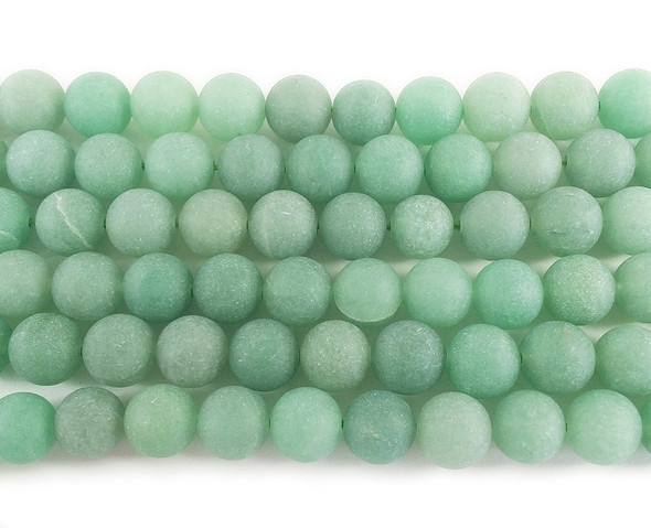 10mm Green aventurine matte round beads