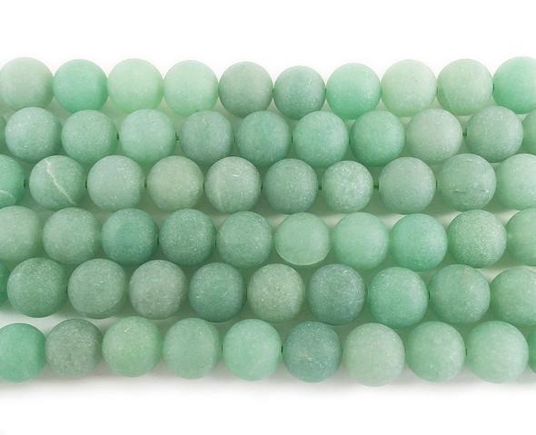 12mm Green Aventurine Matte Round Beads