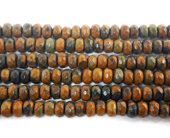 2x4mm Brown Bamboo Jasper Faceted Rondelles