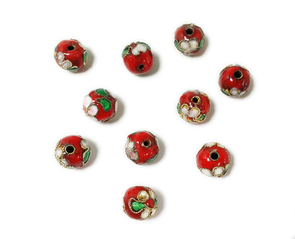 8mm  pack of 20 Red cloisonne decorated round bead