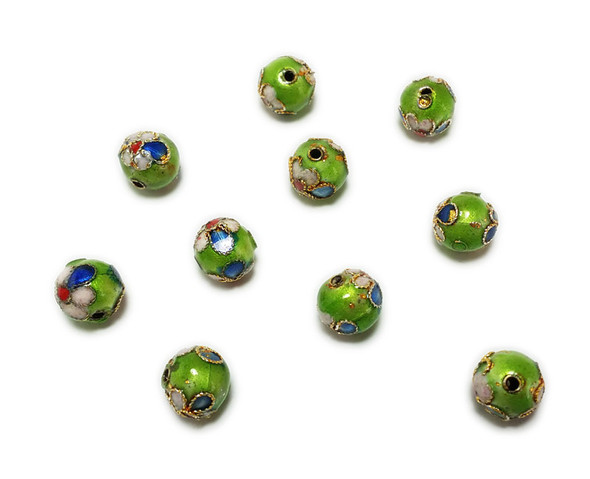 8mm  pack of 20 Green cloisonne decorated round bead