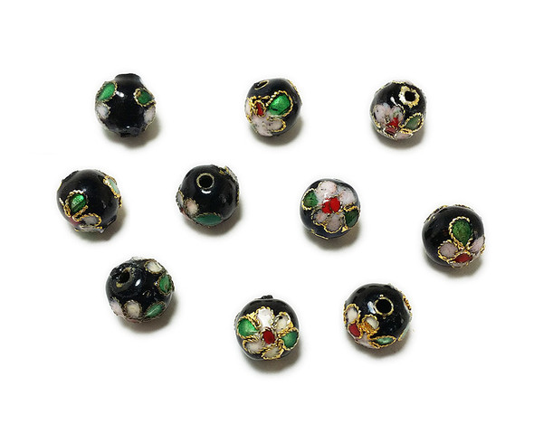 8mm  pack of 20 Black cloisonne decorated round bead