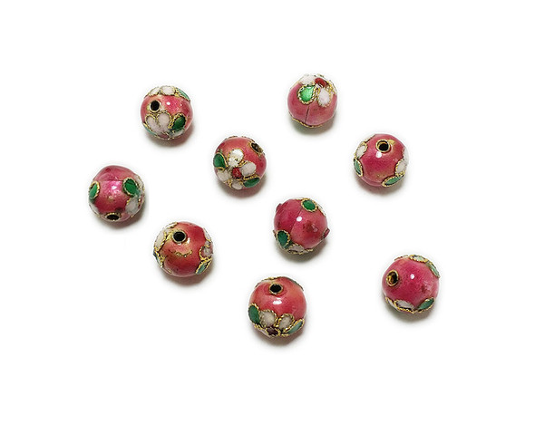 10mm  pack of 20 Pink cloisonne decorated round bead