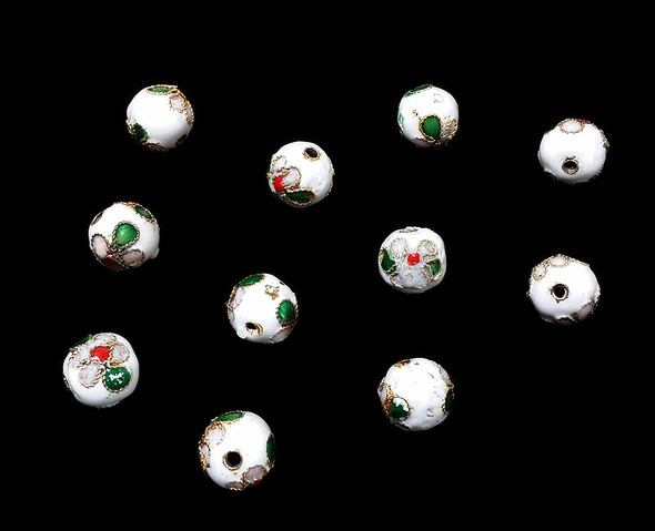 10mm  pack of 20 White cloisonne decorated round bead