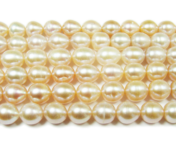 9-10mm  15.5 inches High gloss mauve pearl rice beads