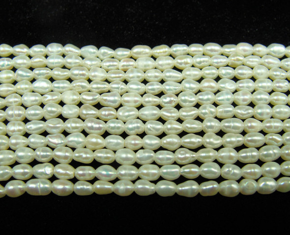 3-4mm  15.5 inches High gloss white pearl small rice beads