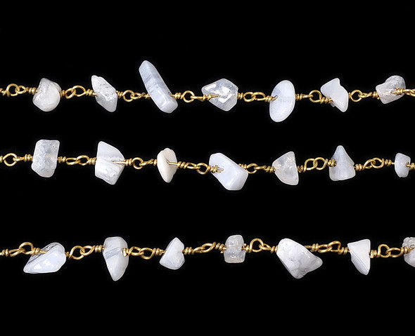 12 Inches Chalcedony Chips With Brass Chain