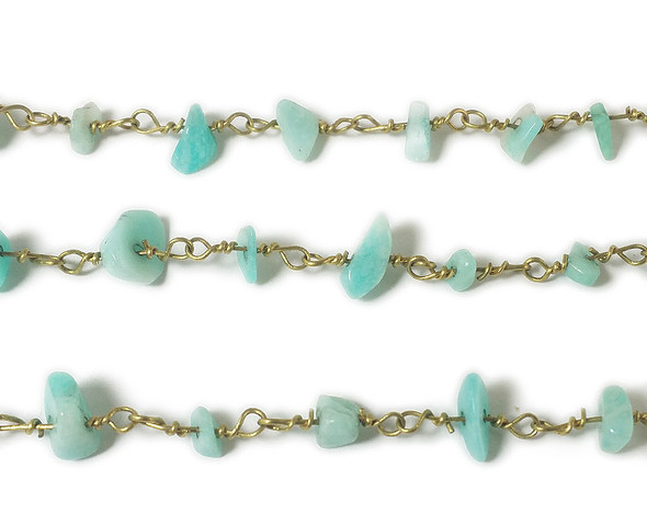 12 Inches Amazonite Chips With Brass Chain