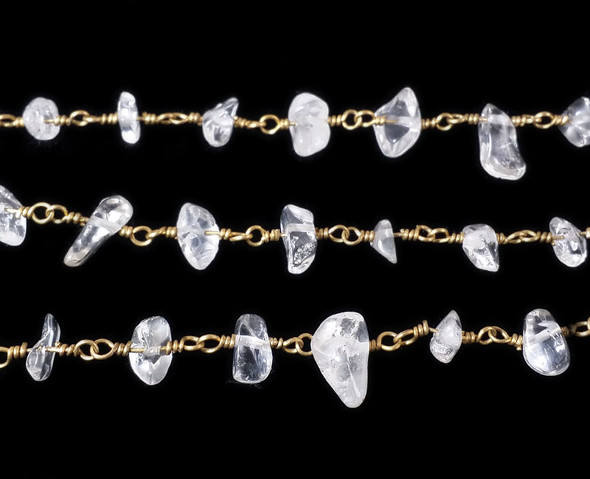 12 Inches Crystal Chips With Brass Chain
