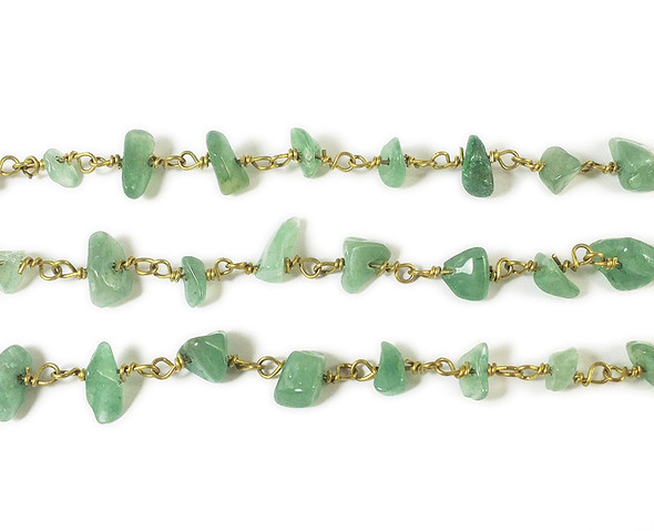 12 Inches Green Aventurine Chips With Brass Chain