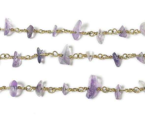12 Inches Amethyst Chips With Brass Chain