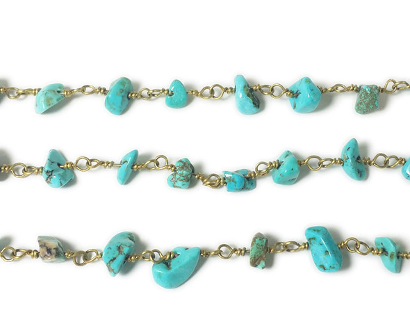 12 Inches Turquoise Howlite Chips With Brass Chain