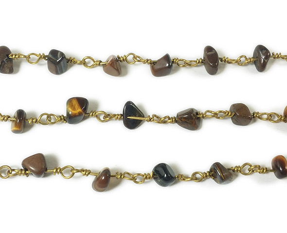 12 Inches Tiger Eye Chips With Brass Chain