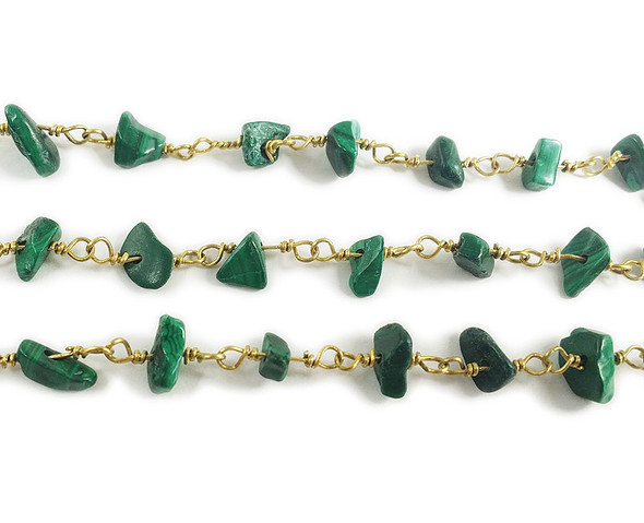 12 Inches Malachite Chips With Brass Chain