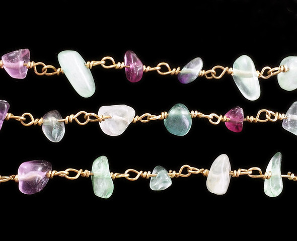 19 Inches Fluorite Chips With Brass Chain
