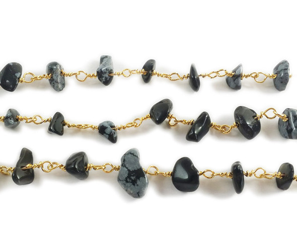 12 Inches Snowflake Obsidian Chips With Brass Chain