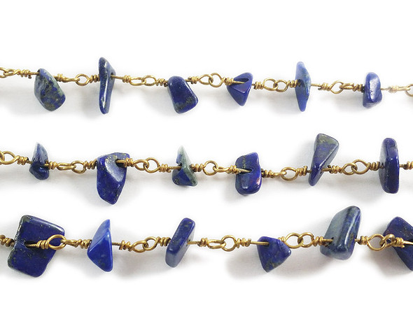 12 Inches Lapis Chips With Brass Chain