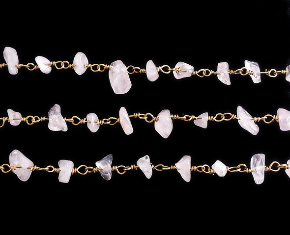 12 Inches Rose Quartz Chips With Brass Chain
