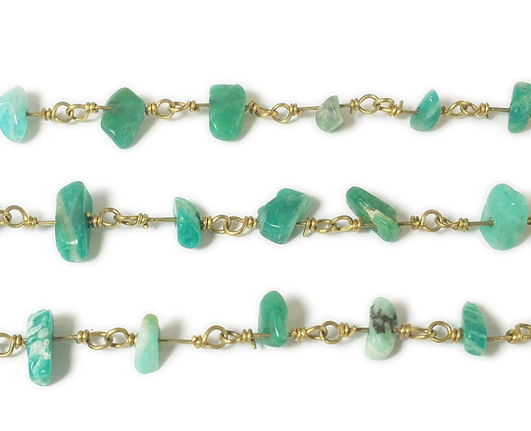 12 Inches African Jade Chips With Brass Chain