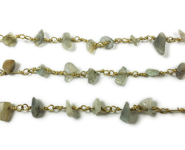 12 Inches Labradorite Chips With Brass Chain