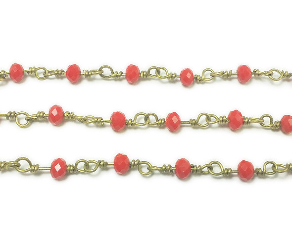 3x4mm 12 Inches Red Glass Rondelles With Brass Chain