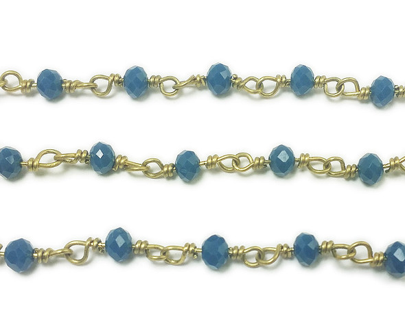 3x4mm 12 Inches Blue Glass Rondelles With Brass Chain