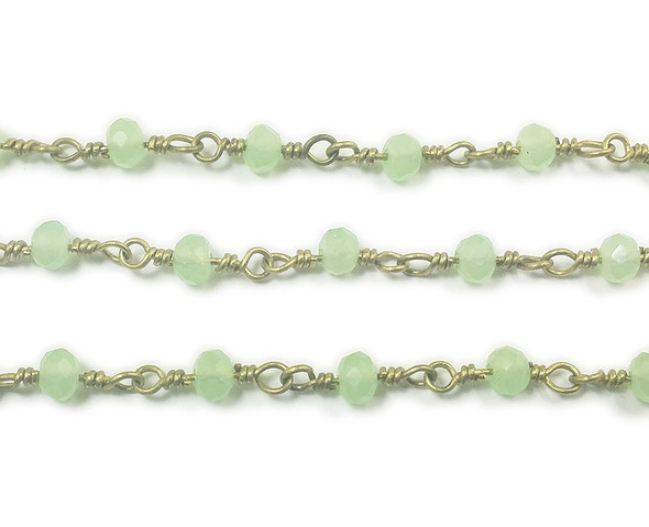 3x4mm 12 Inches Light Green Glass Rondelles With Brass Chain