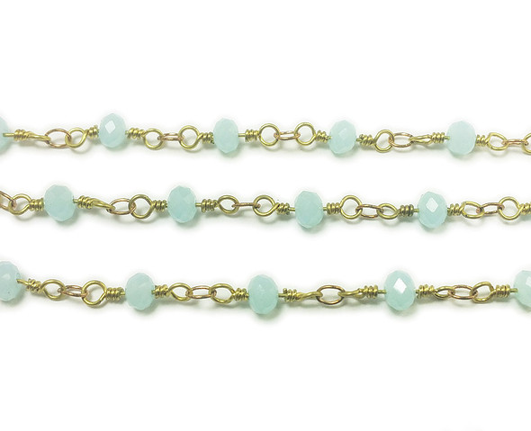 3x4mm 12 Inches Light Blue Glass Rondelles With Brass Chain