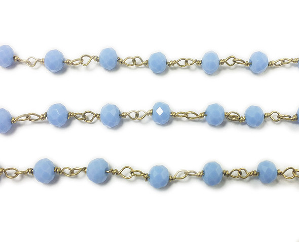 5x6mm 8 Inches Sky Blue Glass Rondelles With Brass Chain