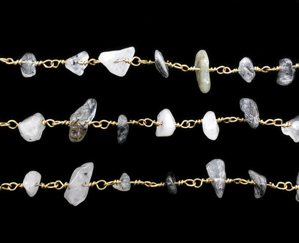 12 Inches Rutilated Quartz Chips With Brass Chain